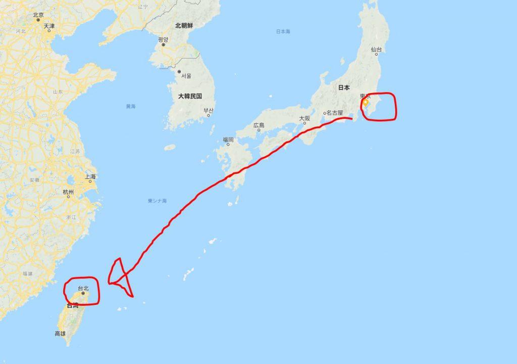 東京 から 台北